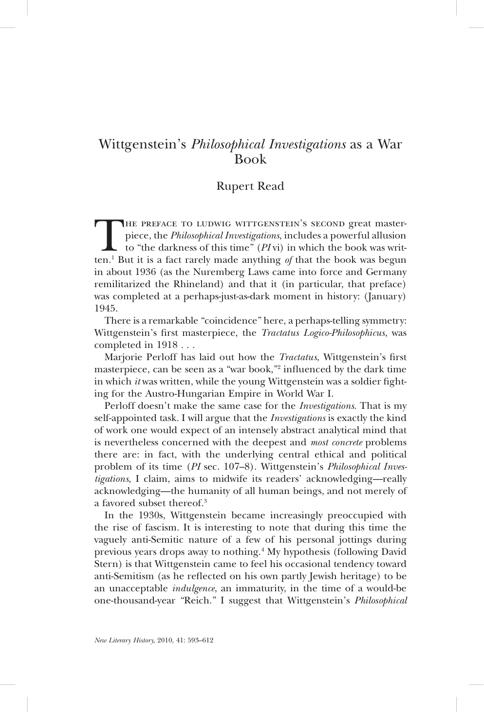 "rupert ""wittgenstein s philosophical investigations as a war  rupert ""wittgenstein s philosophical investigations as a war book"" new literary history"